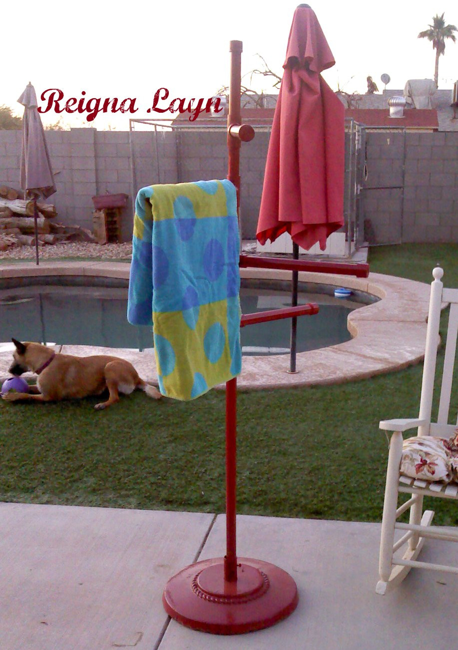 Best ideas about DIY Outdoor Towel Rack . Save or Pin Reigna Layn Frontgate Pool Towel Stand Knockoff Now.