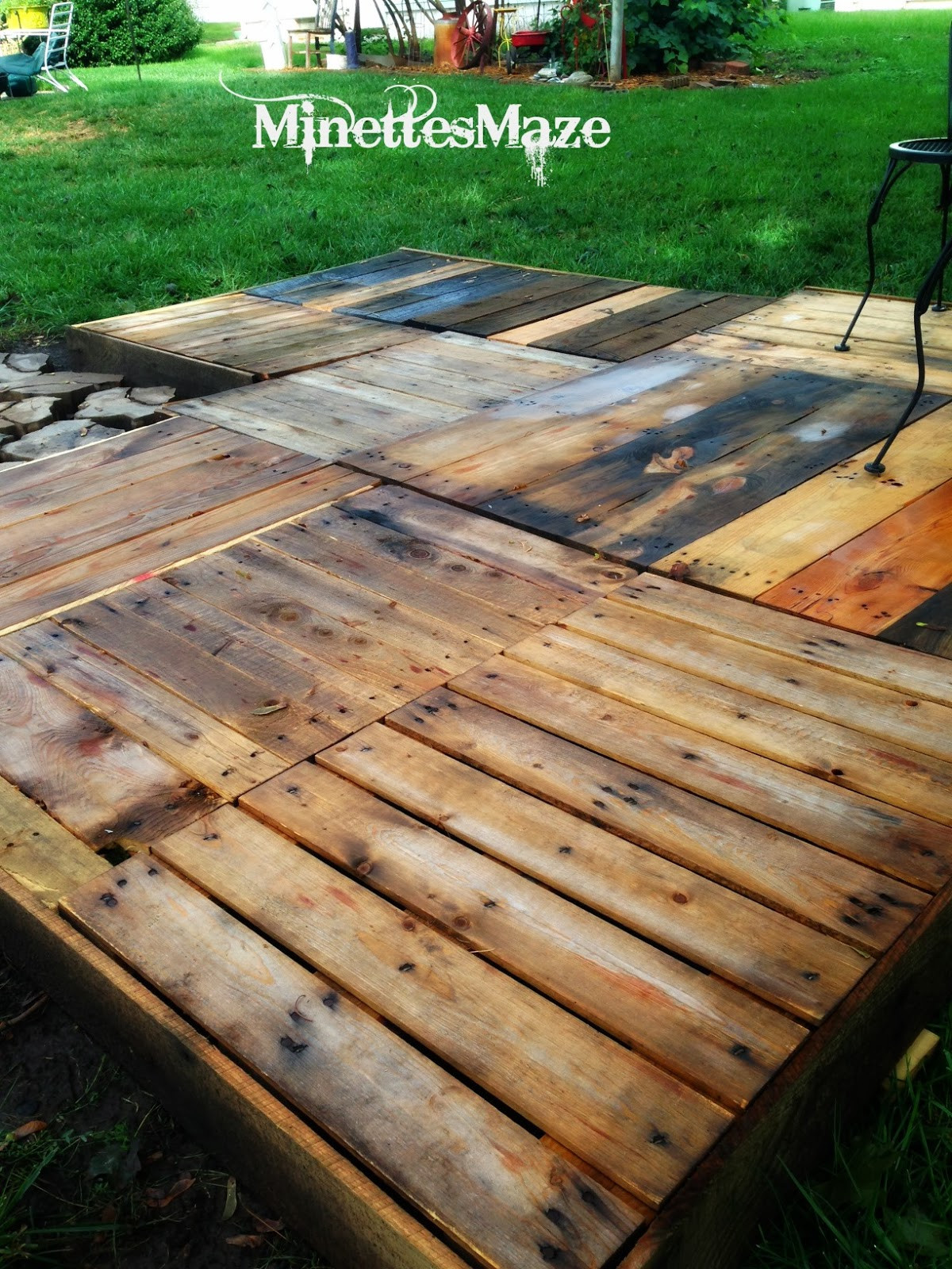 Best ideas about DIY Pallet Deck . Save or Pin MinettesMaze DIY Pallet Deck Now.