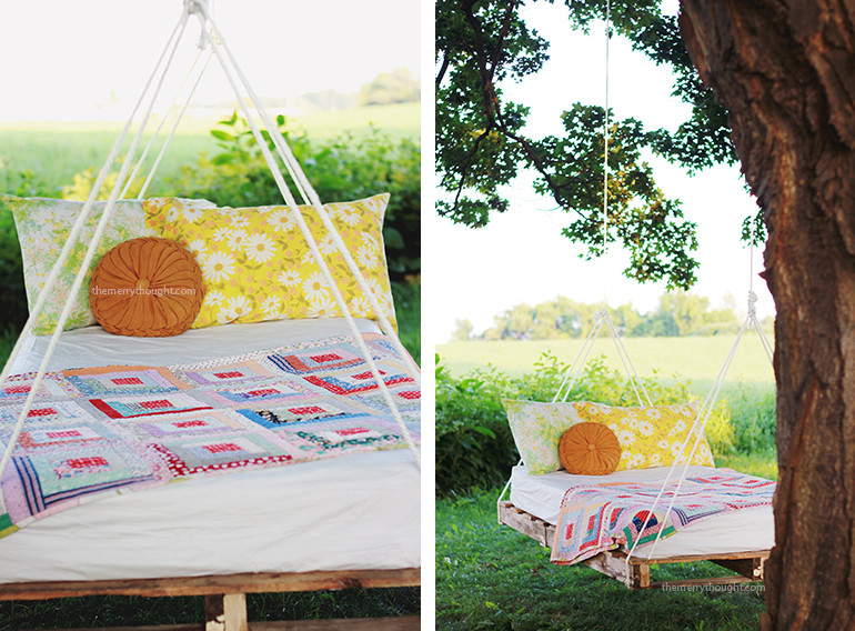 Best ideas about DIY Pallet Swing Bed . Save or Pin DIY Pallet Swing Bed The Merrythought Now.