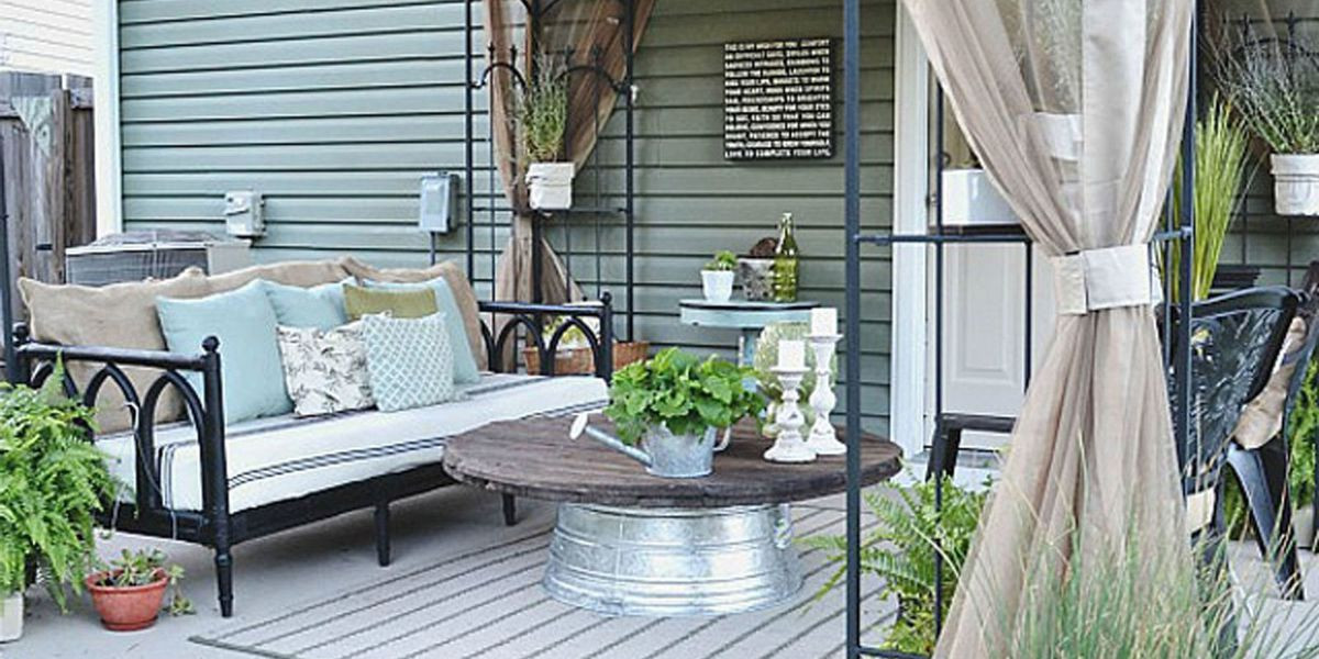 Best ideas about DIY Patio Decor Ideas . Save or Pin Liz Marie Blog Patio Before and After Patio Decorating Ideas Now.