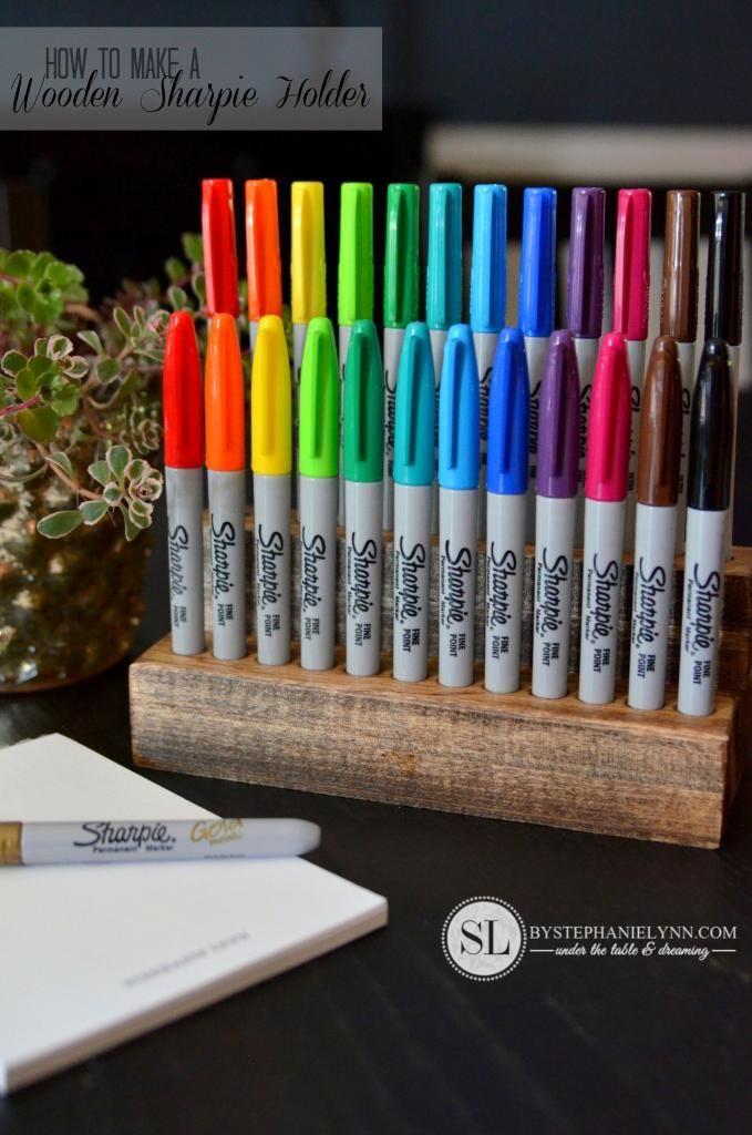 Best ideas about DIY Pencil Organizer . Save or Pin Wooden Sharpie Holder Now.