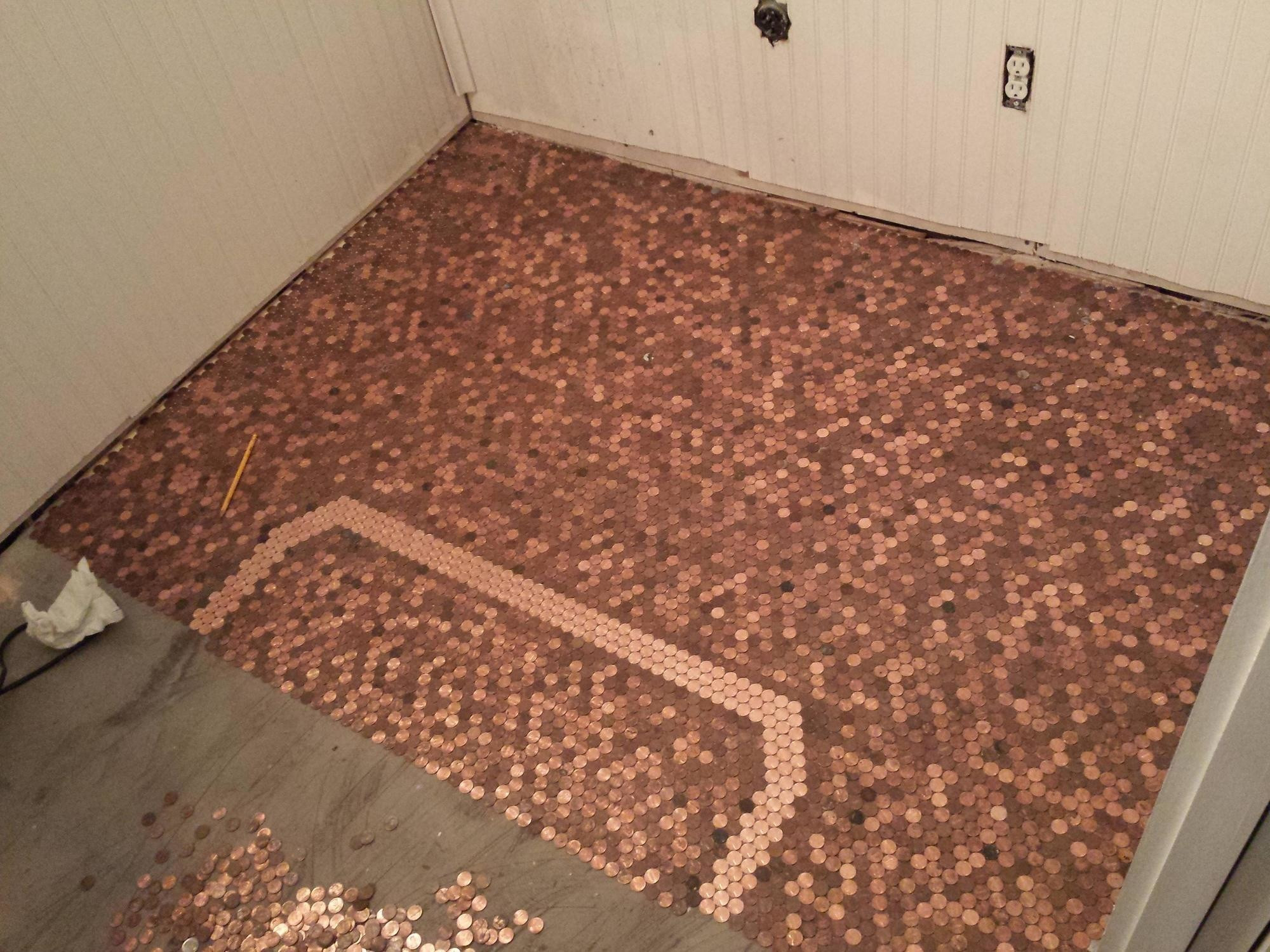Best ideas about DIY Penny Floor . Save or Pin He Made An Awesome Penny Floor Out Old Pennies You can Now.
