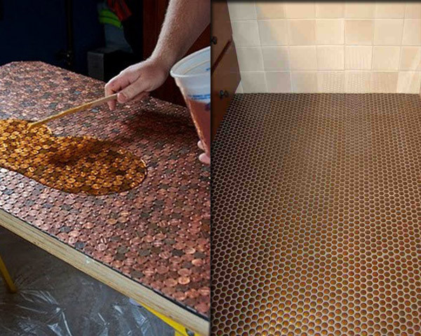 Best ideas about DIY Penny Floor . Save or Pin DIY Copper Penny Floor Now.