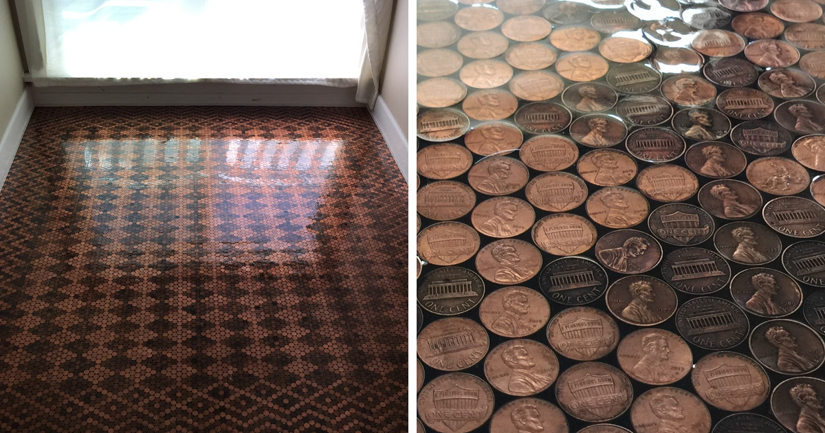 Best ideas about DIY Penny Floor . Save or Pin Woman Uses 13 000 Pennies To Renovate Old Floor And Turn Now.