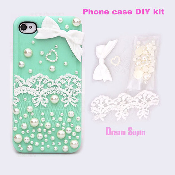 Best ideas about DIY Phone Case Kit . Save or Pin Phone Case DIY kits white bowknot lace from DreamSupin on Etsy Now.