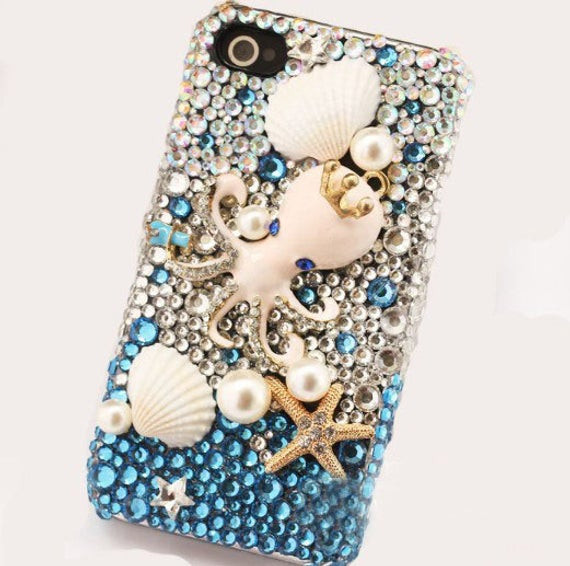 Best ideas about DIY Phone Case Kit . Save or Pin Bling Octopus Starfish Gems DIY Decoden Cabochon Jewelry Now.