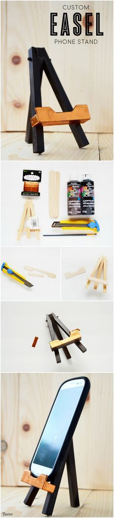 Best ideas about DIY Phone Stand For Desk . Save or Pin Use a mini wood easel to create a useful and cute DIY Now.