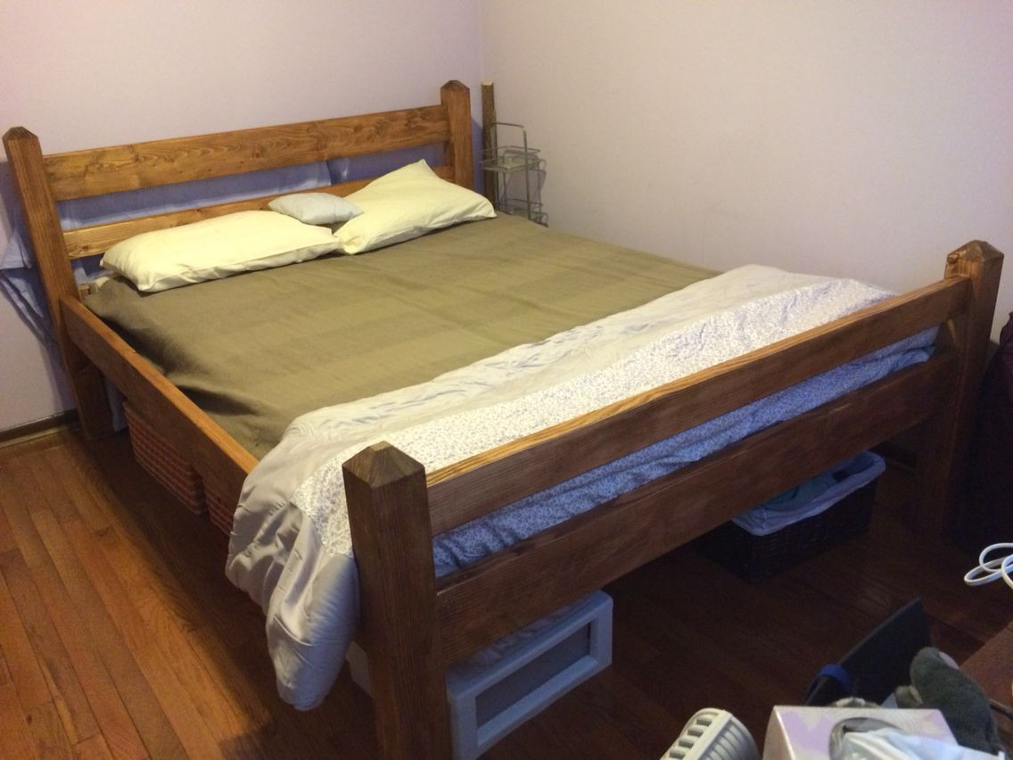 Best ideas about DIY Platform Bed Frame Queen . Save or Pin DIY queen size platform bed frame from 2x6 2x4 pine and Now.