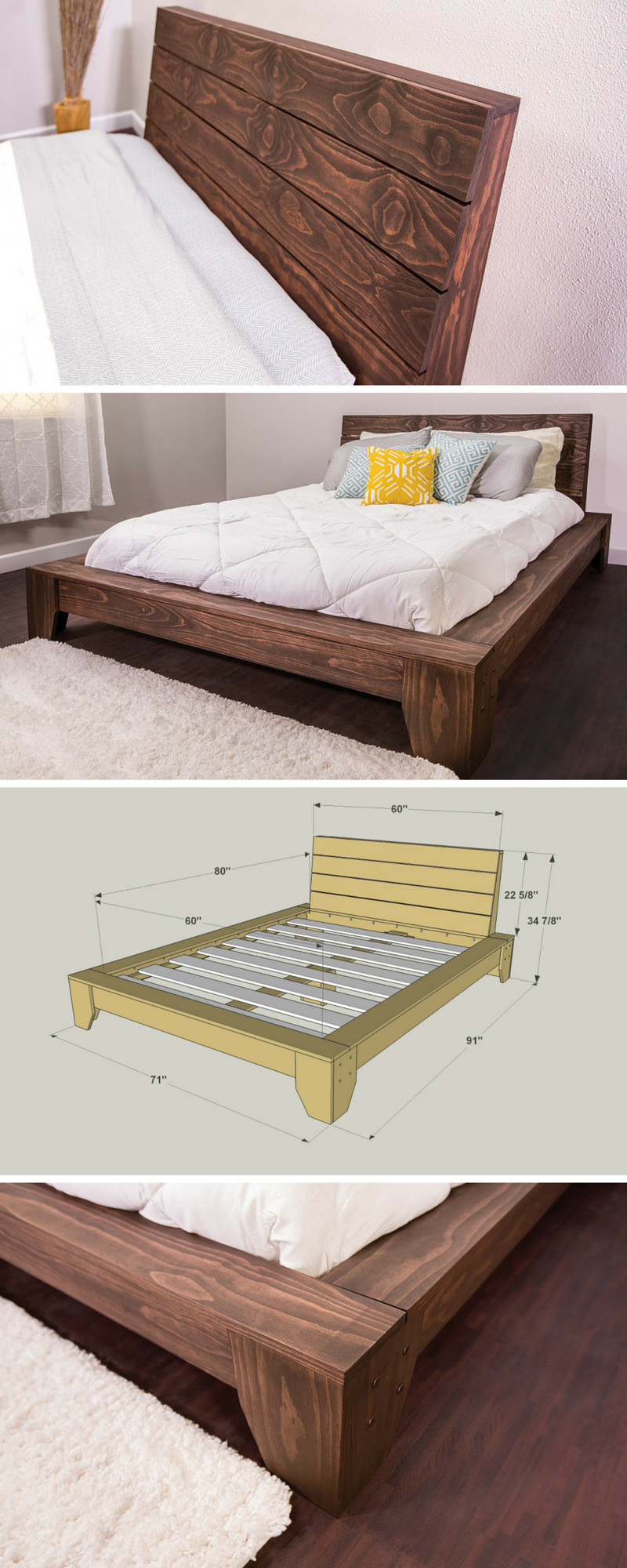 Best ideas about DIY Platform Bed Frame Queen . Save or Pin 36 Easy DIY Bed Frame Projects to Upgrade Your Bedroom Now.