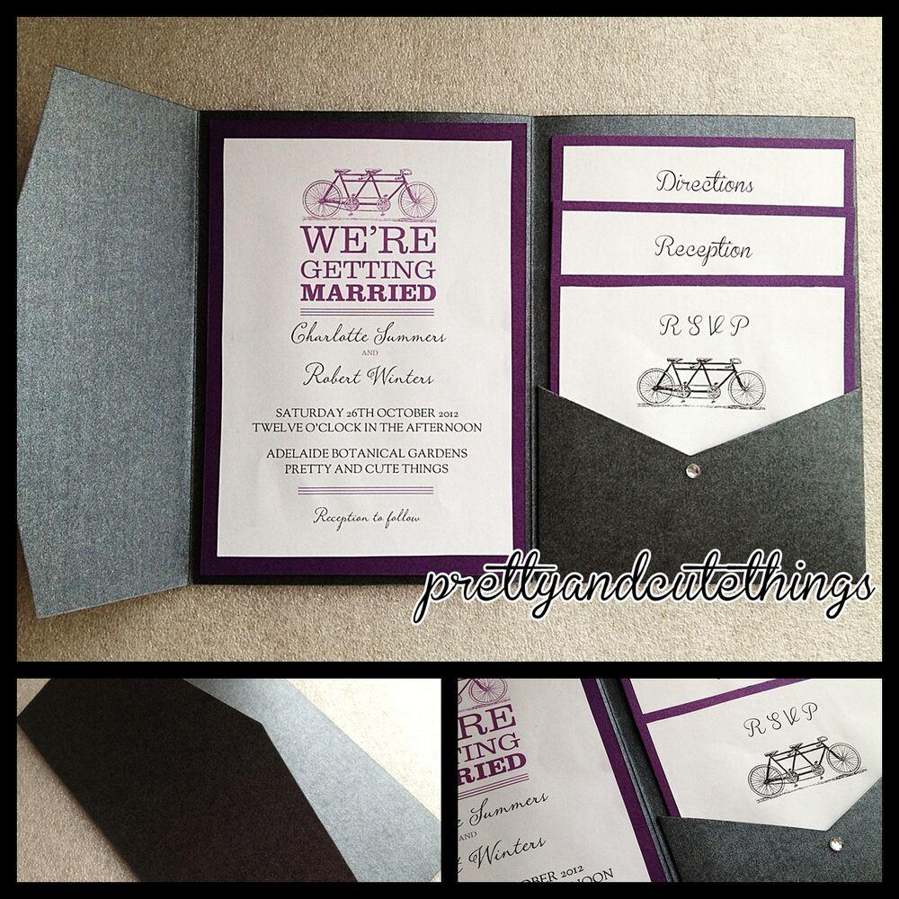Best ideas about DIY Pocket Wedding Invitations . Save or Pin BLACK METALLIC SHIMMER WEDDING INVITATIONS DIY POCKET Now.