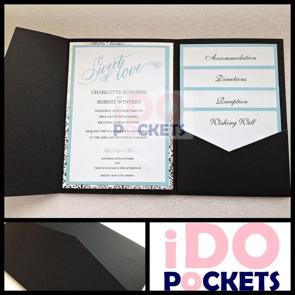 Best ideas about DIY Pocket Wedding Invitations . Save or Pin MATTE BLACK WEDDING INVITATIONS DIY POCKET CARDS ENVELOPES Now.