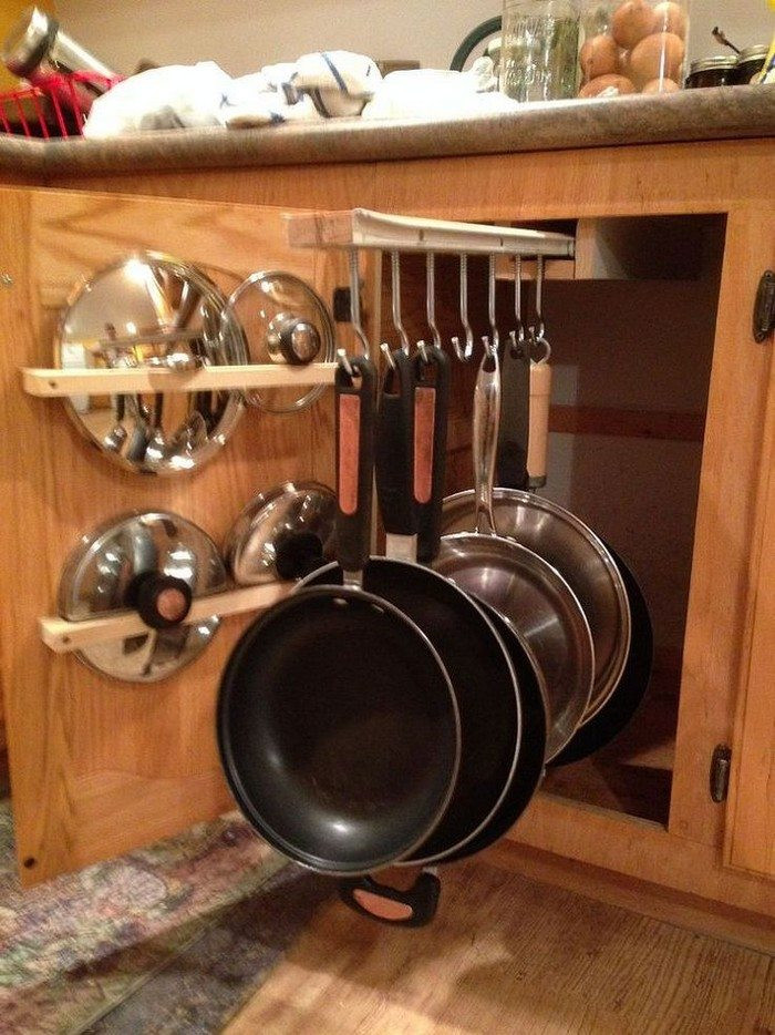 Best ideas about DIY Pot And Pan Rack . Save or Pin DIY sliding pots and pans rack Now.