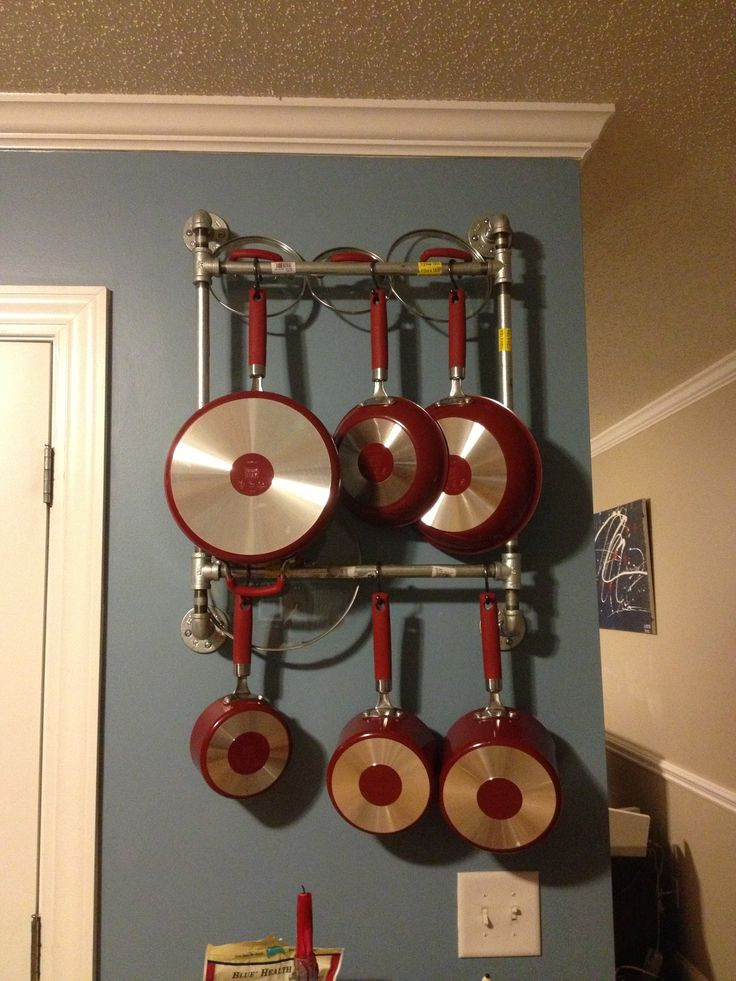 Best ideas about DIY Pot And Pan Rack . Save or Pin Easy DIY pot pan rack made out of pipes Now.