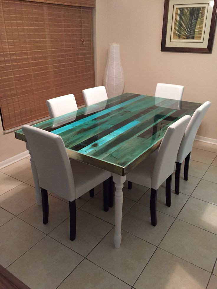 Best ideas about DIY Resin Table . Save or Pin I made it Reclaimed pallet table top finished with epoxy Now.