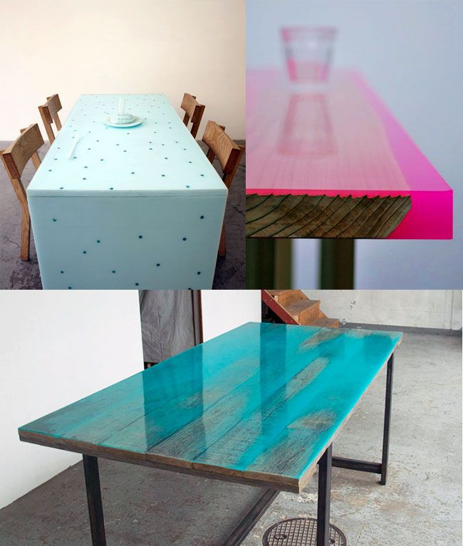 Best ideas about DIY Resin Table . Save or Pin Coloured resine tables Now.