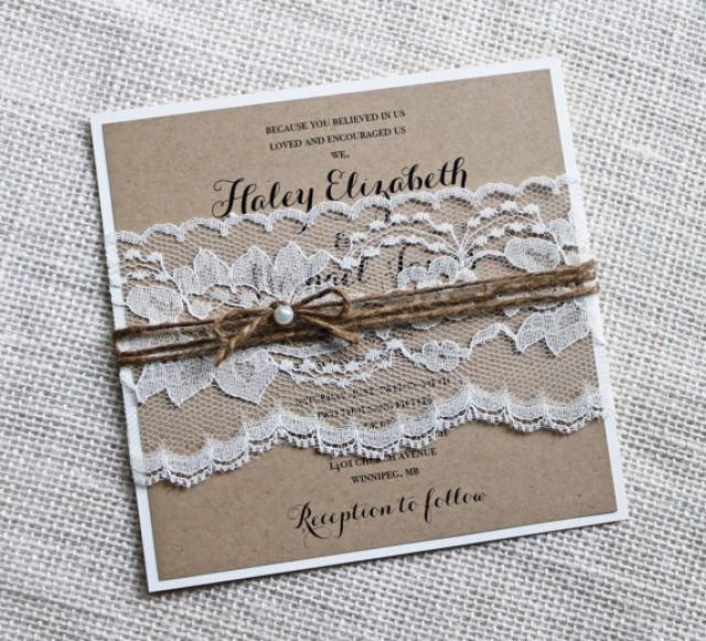Best ideas about DIY Rustic Wedding Invitations . Save or Pin Rustic Wedding Invitations Lace Wedding Invitation Kraft Now.