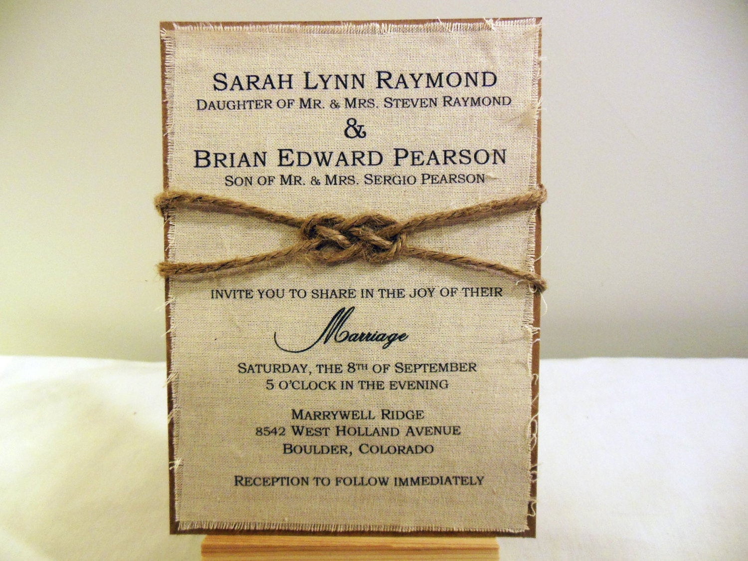Best ideas about DIY Rustic Wedding Invitations . Save or Pin DIY Rustic Wedding Invitation Kit Burlap Fabric Rustic Now.