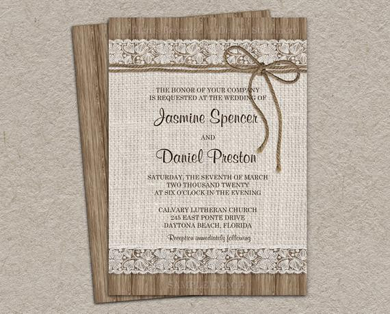 Best ideas about DIY Rustic Wedding Invitations . Save or Pin Rustic Burlap Wedding Invitation DIY Printable Rustic Wedding Now.