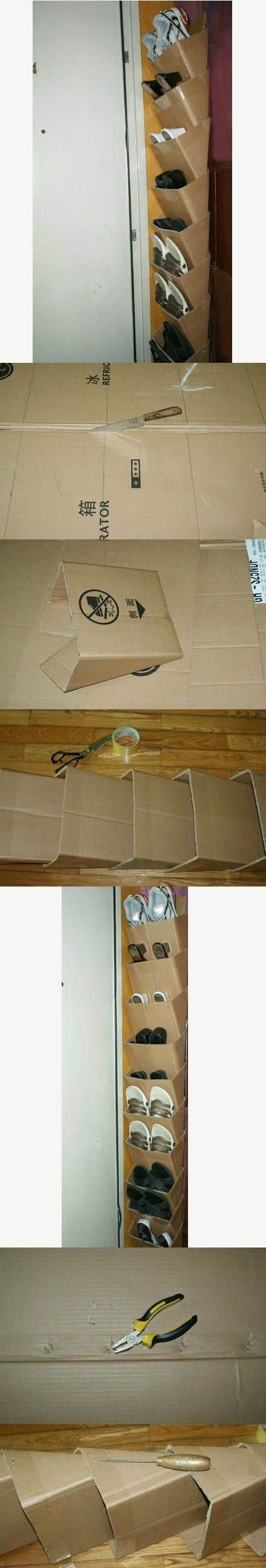 Best ideas about DIY Shoe Rack Cardboard . Save or Pin How to make a shoe organizer using used cardboard boxes Now.