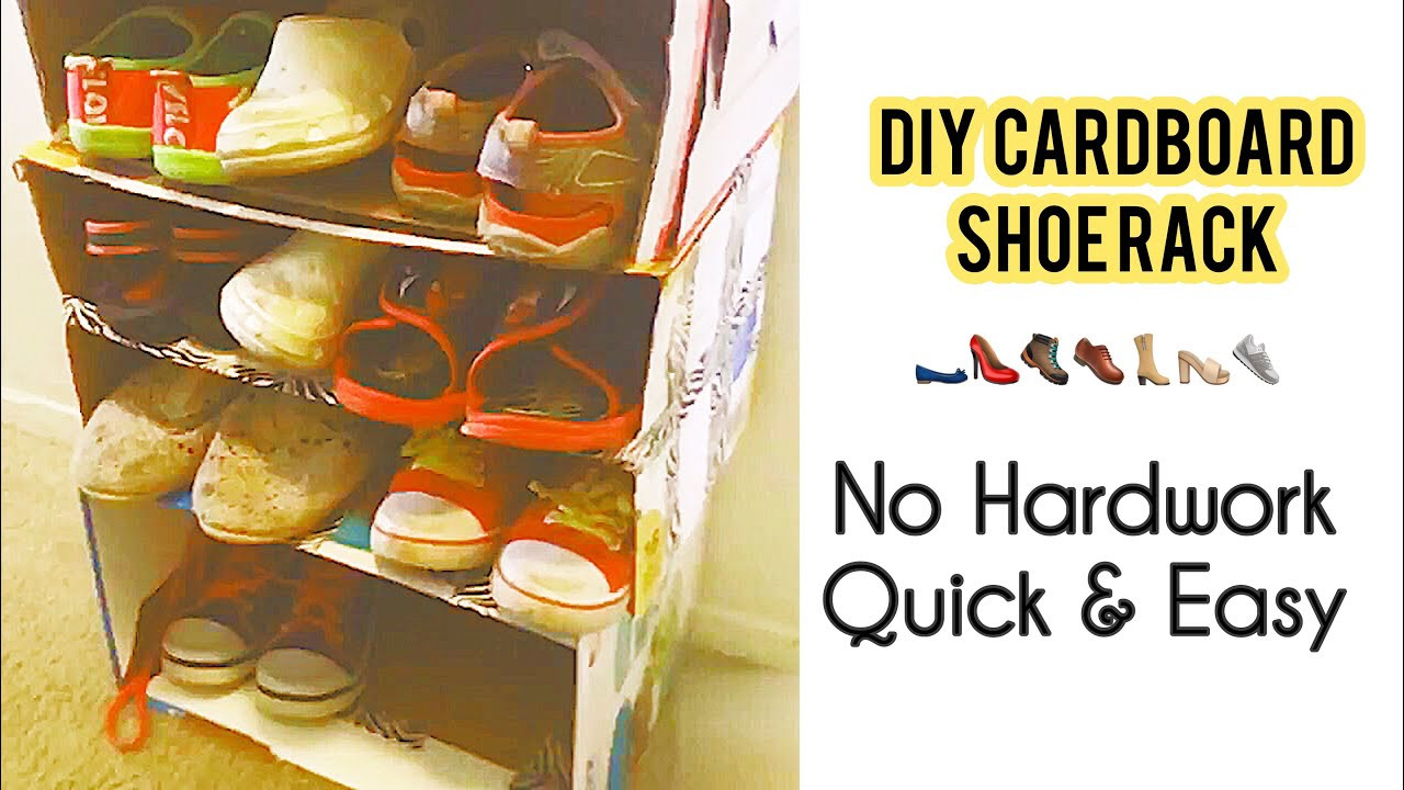 Best ideas about DIY Shoe Rack Cardboard . Save or Pin DIY Cardboard Shoe Rack shelf 👞👢👠👟No hard work No Cost Now.