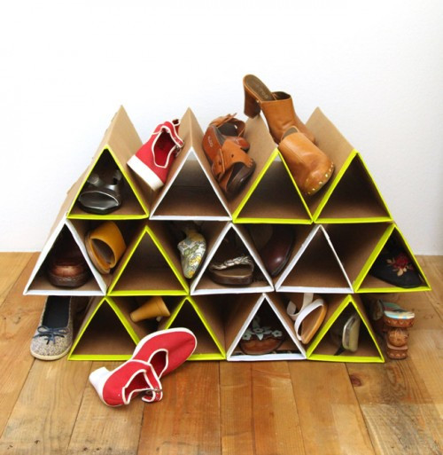 Best ideas about DIY Shoe Rack Cardboard . Save or Pin DIY Geometric Shoe Rack Cardboard Shelterness Now.
