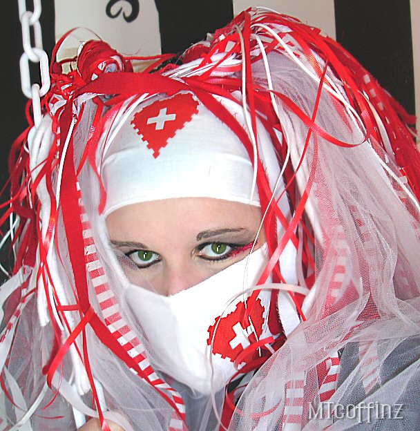 Best ideas about DIY Surgical Mask . Save or Pin DIY Cyber Goth Rave White Nurse Heart Surgical Mask Now.