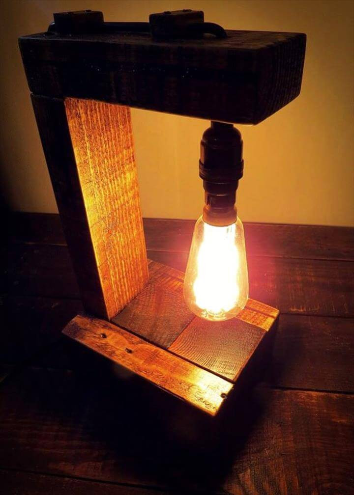Best ideas about DIY Table Lamps . Save or Pin Pallet Table Lamp with Edison Bulb Now.