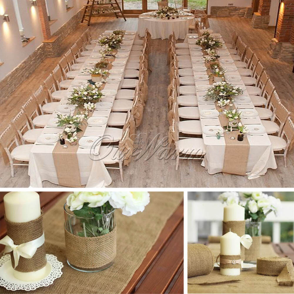 Best ideas about DIY Table Runner Wedding . Save or Pin Unique Hessian Jute Burlap Roll Chair Bow Table Runner DIY Now.