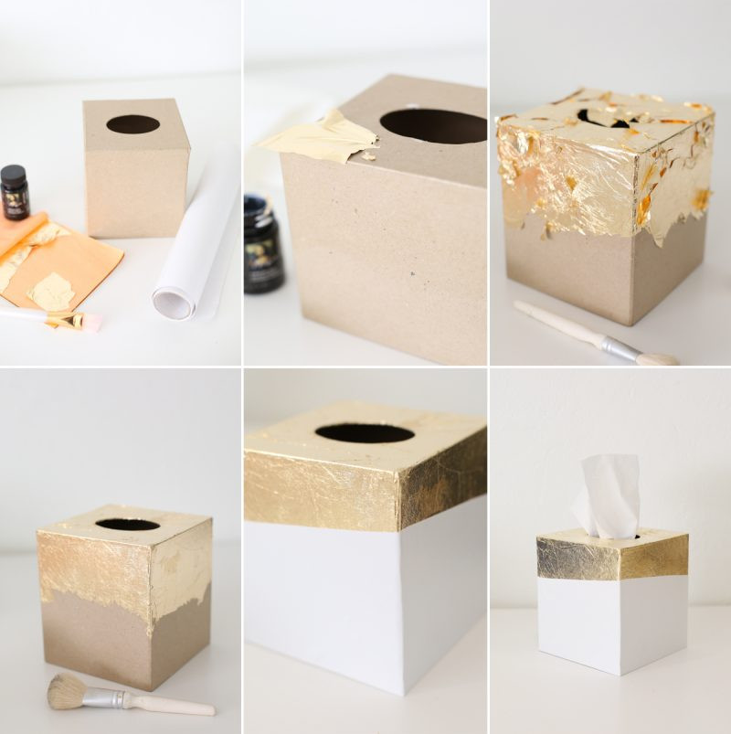 Best ideas about DIY Tissue Box . Save or Pin DIY Gold Leaf Tissue Box Holder Now.