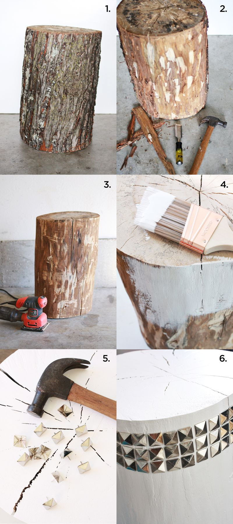 Best ideas about DIY Tree Stump Table . Save or Pin DIY Studded Tree Stump Side Table – A Beautiful Mess Now.