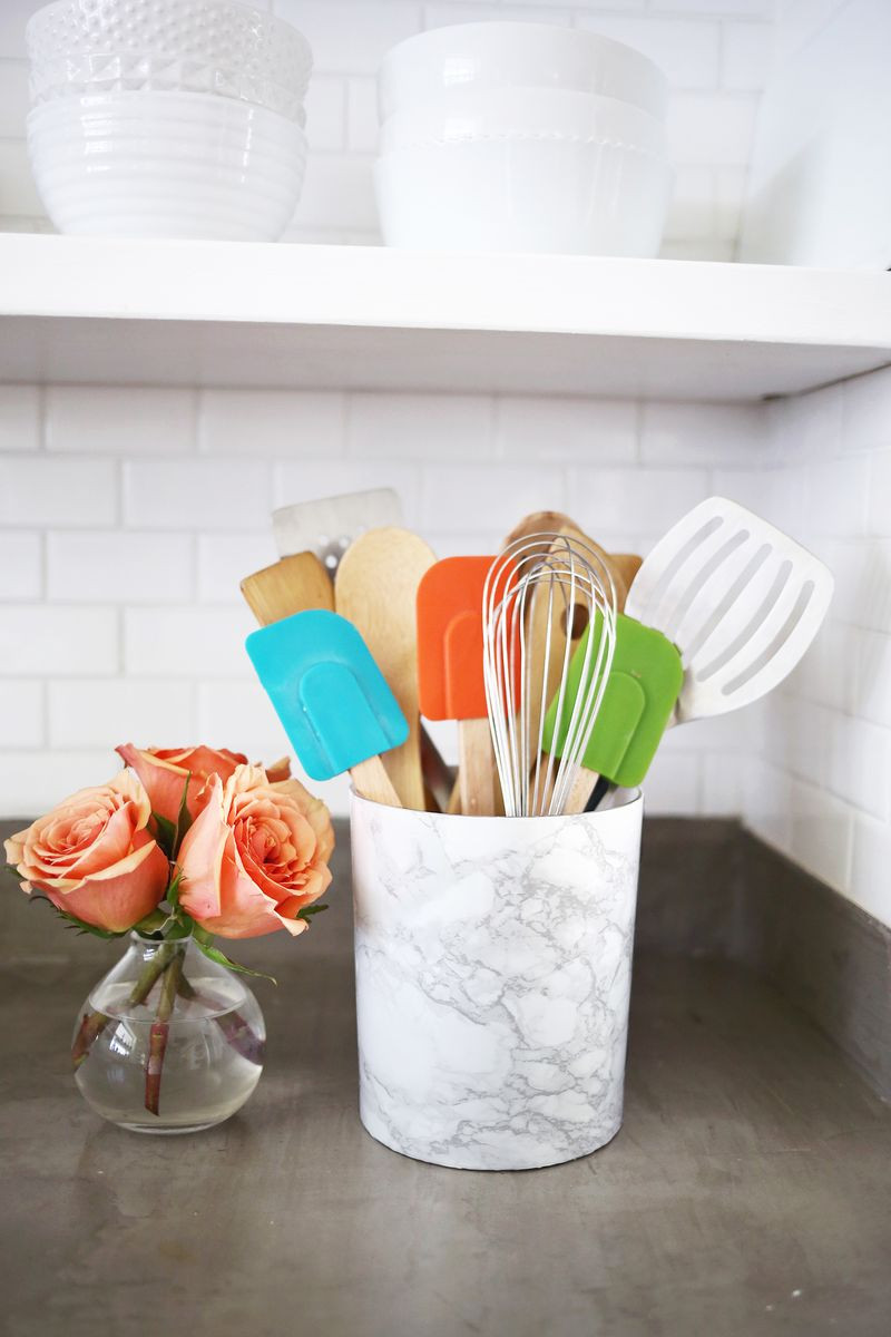 Best ideas about DIY Utensil Organizer . Save or Pin Try This Easy Marble Utensil Holder DIY – A Beautiful Mess Now.