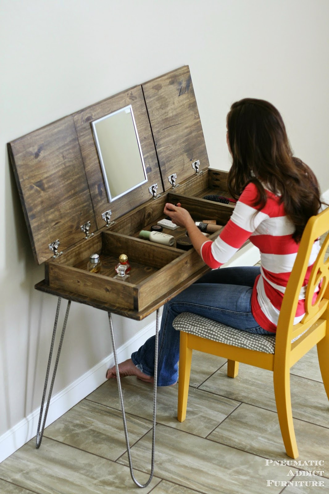 Best ideas about DIY Vanity Table Plans . Save or Pin Hairpin Make up Vanity [Building Plans and GIVEAWAY Now.
