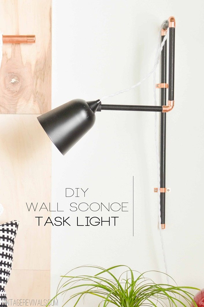 Best ideas about DIY Wall Lighting . Save or Pin DIY Wall Sconce Task Lights & A Tar Update Vintage Now.