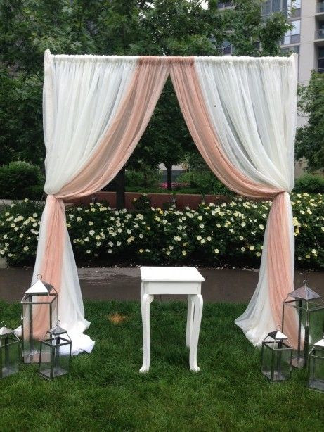 Best ideas about DIY Wedding Arch Frame . Save or Pin Draping outdoors frame ffrom pvc pipes and sheer curtains Now.