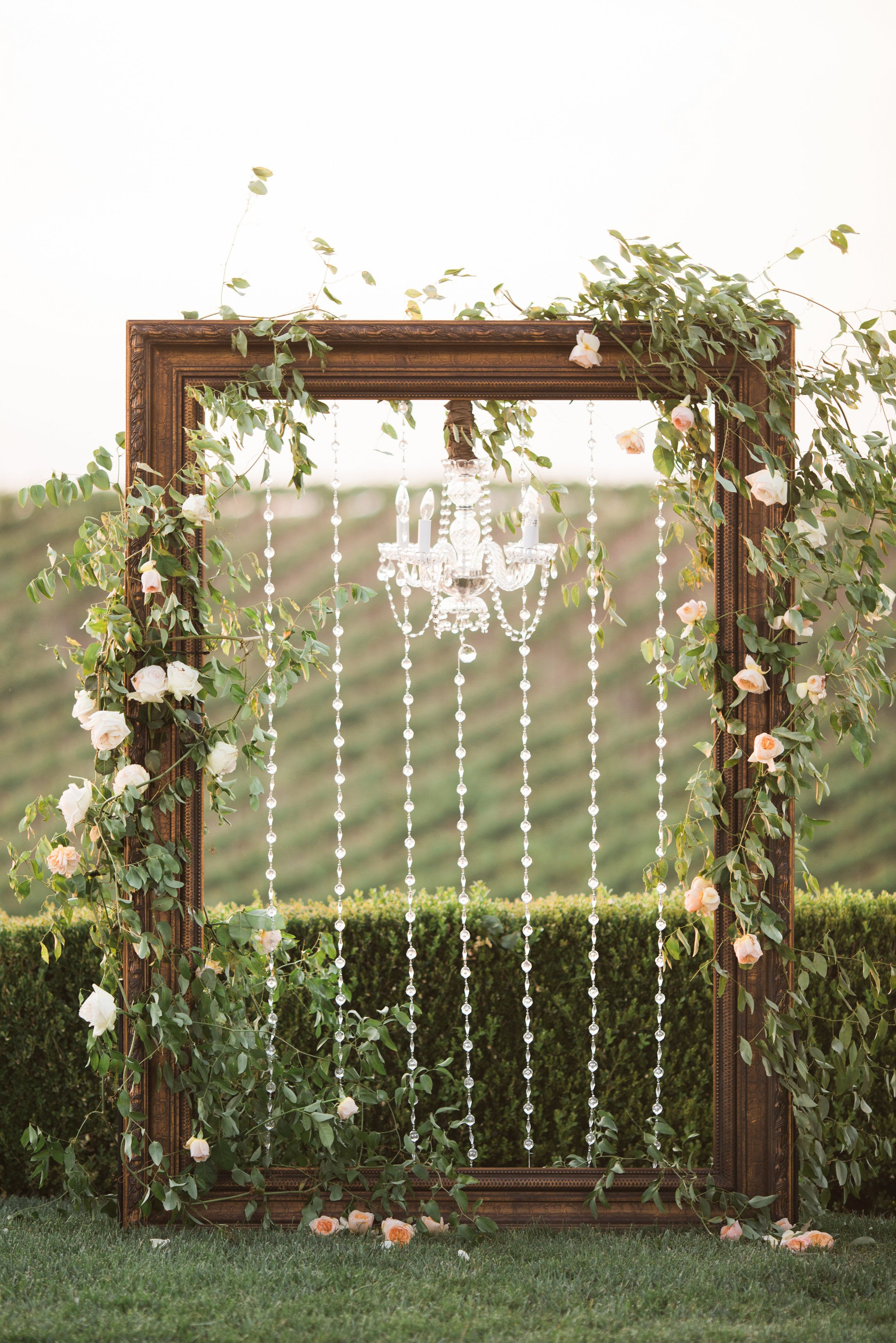 Best ideas about DIY Wedding Arch Frame . Save or Pin Frame & chandelier wedding arch Winery West Lawn Now.