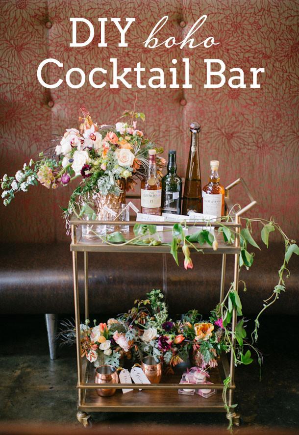 Best ideas about DIY Wedding Bar . Save or Pin DIY Boho Cocktail Bar Now.