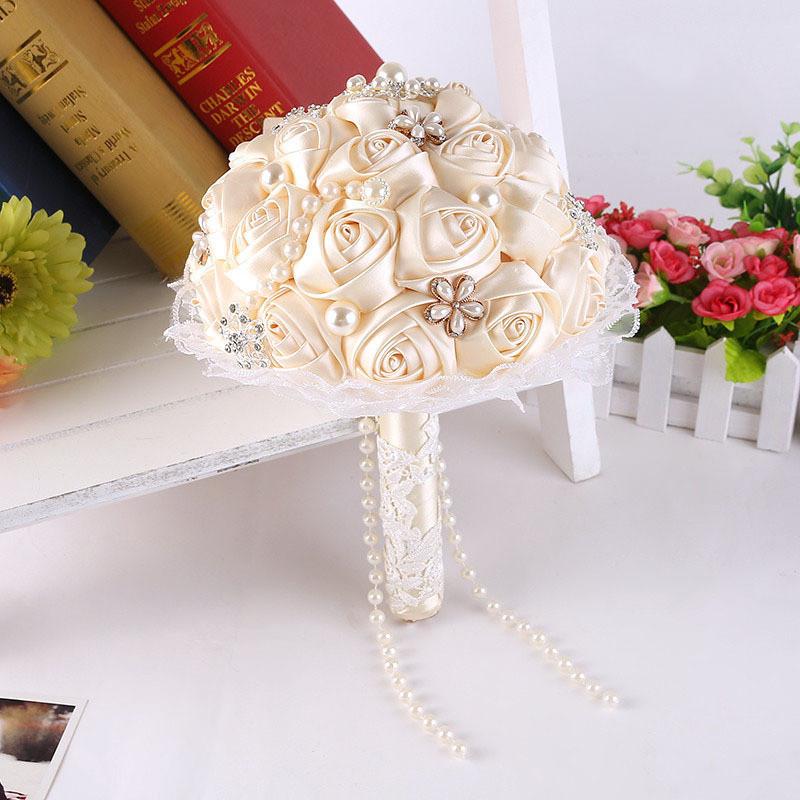 Best ideas about DIY Wedding Bouquet Silk Flowers . Save or Pin DIY flowers Pearls Silk Rose Bridal Wedding Flowers Now.