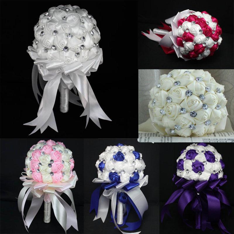 Best ideas about DIY Wedding Bouquet Silk Flowers . Save or Pin Fashion Wedding Bride Bouquet Crystal Silk DIY wedding Now.