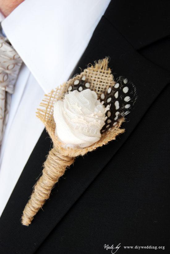 Best ideas about DIY Wedding Boutonniere . Save or Pin DIY Wedding Burlap Boutonnieres With Feathers Now.