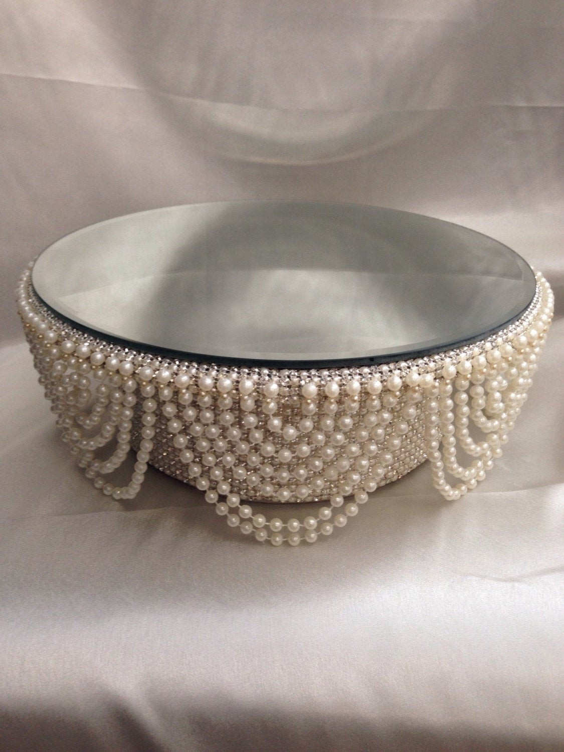 Best ideas about DIY Wedding Cake Stands . Save or Pin Pearl and crystals Drape design wedding cake stand round Now.