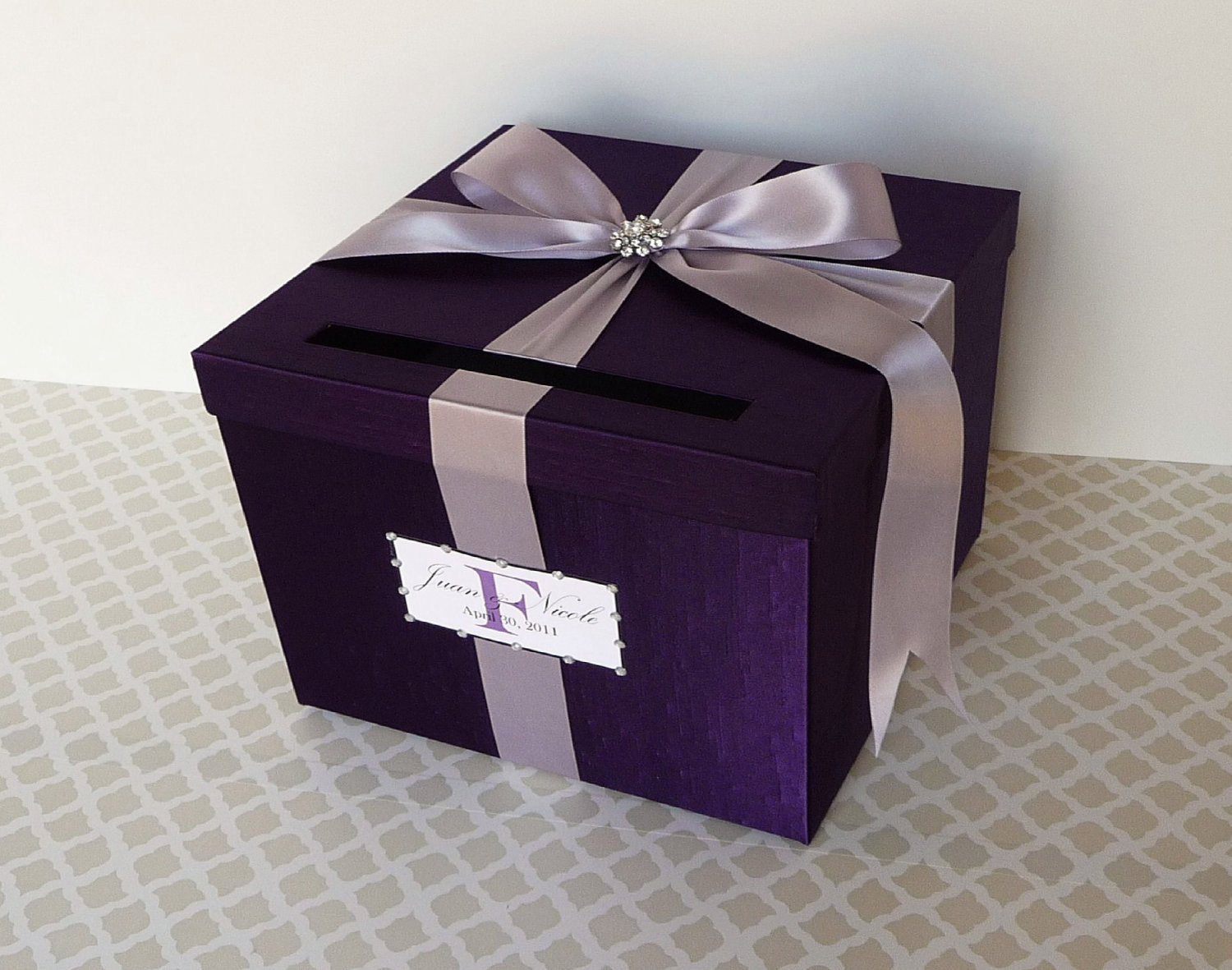 Best ideas about DIY Wedding Card Box Instructions . Save or Pin Wedding Card Box Purple Money Holder Customizable Now.