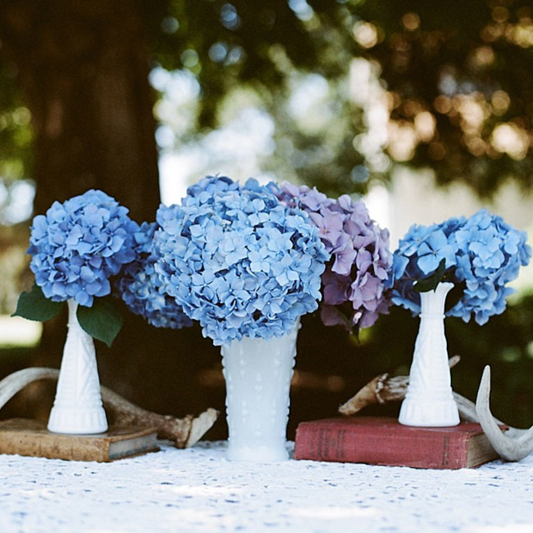 Best ideas about DIY Wedding Centerpieces Without Flowers . Save or Pin Blue Hydrangea Wedding Centerpieces Now.