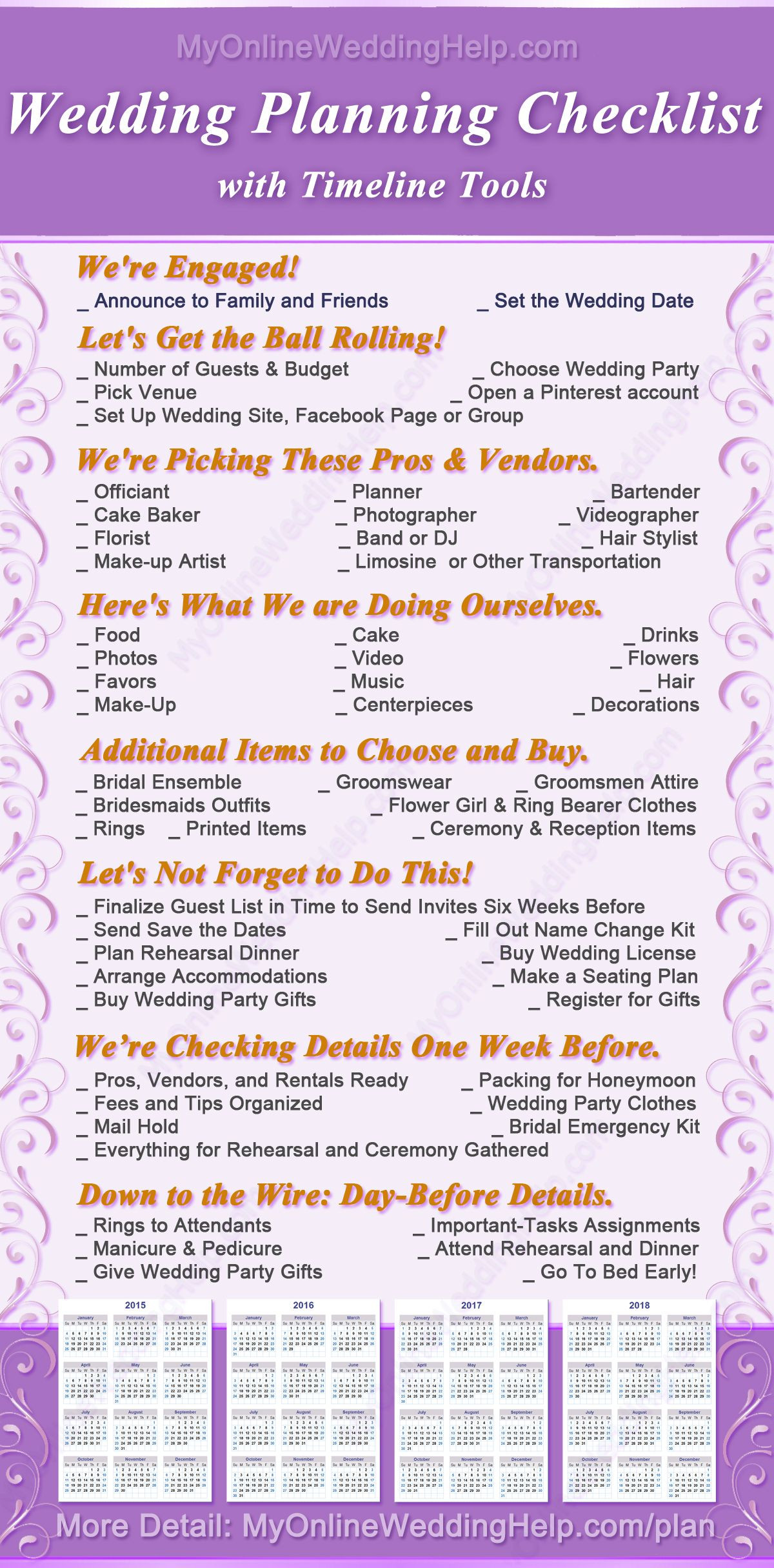 Best ideas about DIY Wedding Checklist . Save or Pin DIY Wedding Planning Checklist and PDF Now.