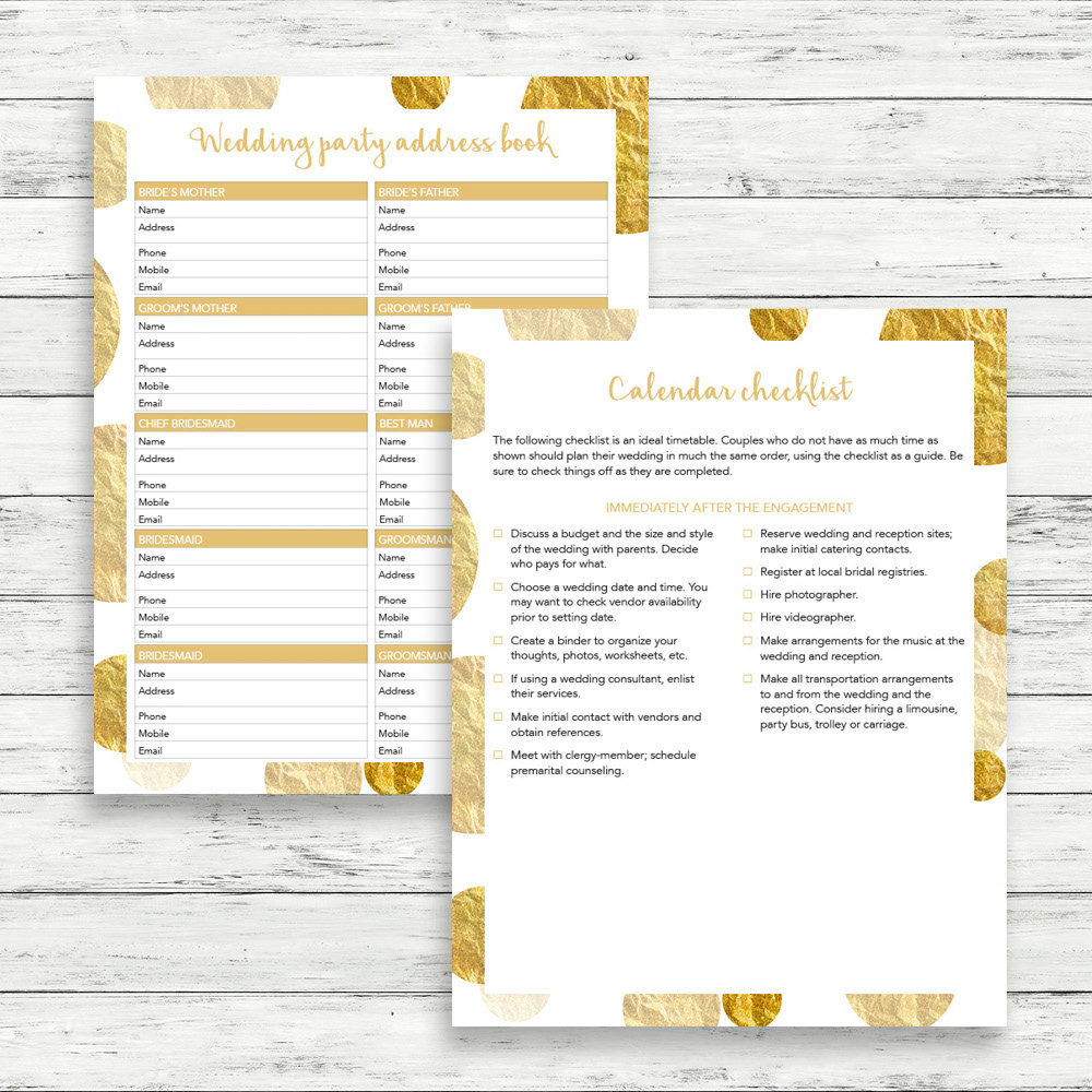 Best ideas about DIY Wedding Checklist . Save or Pin Gold wedding planner DIY wedding binder Gold wedding Now.