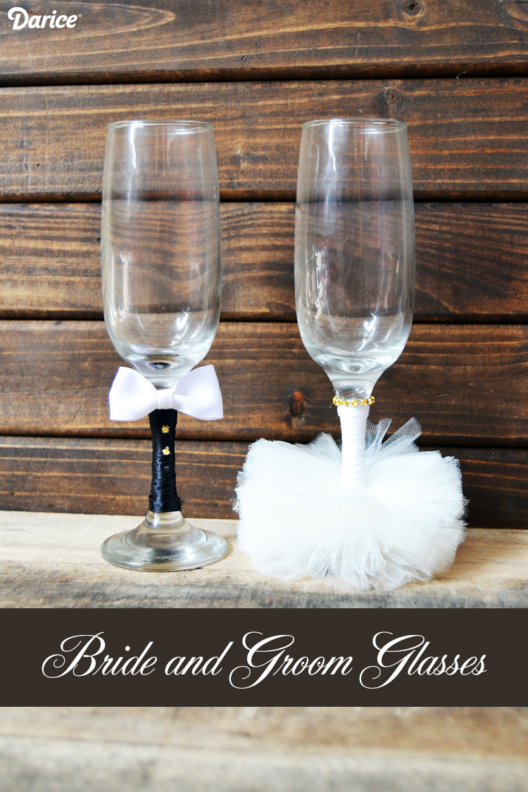 Best ideas about DIY Wedding Crafts . Save or Pin Wedding Crafts DIY Bride and Groom Glasses Darice Now.