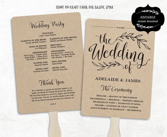 Best ideas about DIY Wedding Fans . Save or Pin Printable Wedding Program Template Rustic Wedding Fan Now.