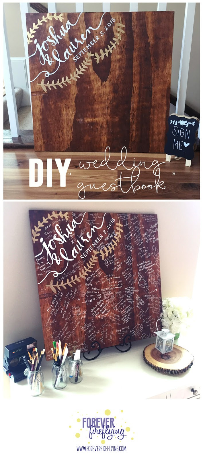 "Best ideas about DIY Wedding Guest Books . Save or Pin Forever Fireflying Wedding DIY wood ""guestbook"" Now."