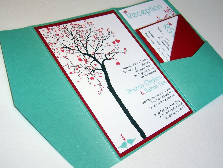 Best ideas about DIY Wedding Invitation Idea . Save or Pin Wedding Invitation DIY Pocketfold Heart Tree Printable Now.