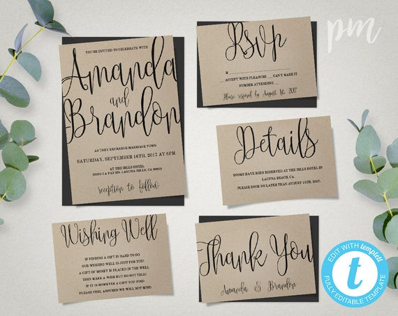 Best ideas about DIY Wedding Invitation Templates . Save or Pin Wedding Invitation Template Suite Calligraphy Script Now.