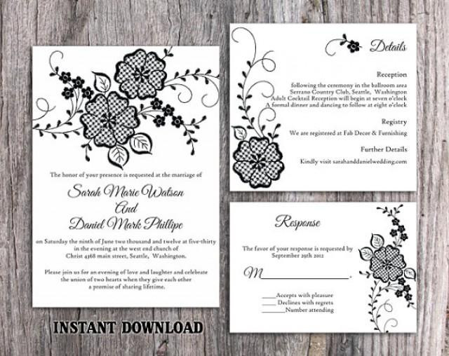 Best ideas about DIY Wedding Invitation Templates . Save or Pin DIY Lace Wedding Invitation Template Set Editable Word Now.